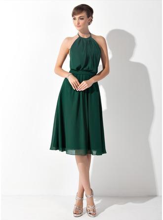 A-Line/Princess Halter Knee-Length Chiffon Bridesmaid Dress With Ruffle Bow(s)