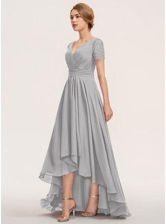 Трапеция V-образный асимметричный шифон Кружева Платье Подружки Невесты с Рябь