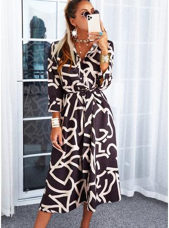 Trykk A-line kjole Trekvart ermer Midi Avslappet Skjorte skater Motekjoler