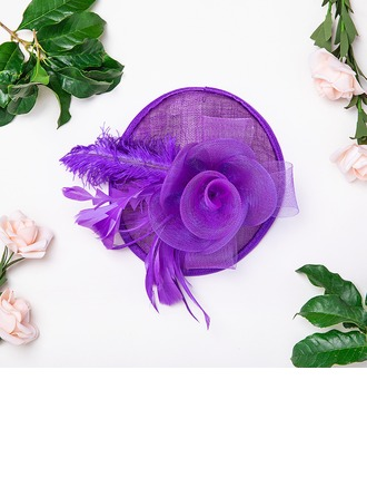 Senhoras Bonito/Elegante Algodão com Pena/Flor de seda/Tule Fascinators/Kentucky Derby Bonés/Chapéus do tea party