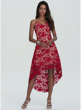 A-Line/Princess V-neck Asymmetrical Lace Homecoming Dress