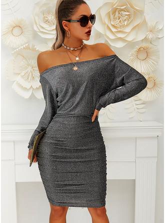 Pevný Přiléhavé Dlouhé rukávy Midi Party Elegantní Tužky Módní šaty