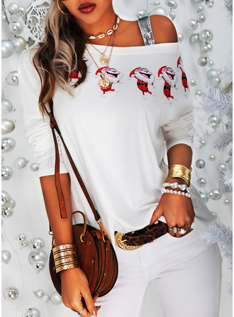 Print Sequins One Shoulder Long Sleeves Casual Christmas Blouses