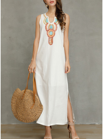 Print Shift Sleeveless Maxi Boho Casual Vacation Tank Dresses
