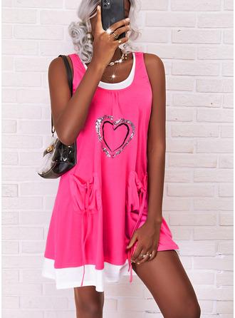 Print Heart Shift Sleeveless Midi Casual Dresses