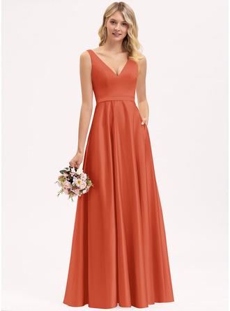 A-Line V-neck Floor-Length Satin Bridesmaid Dress With Pockets