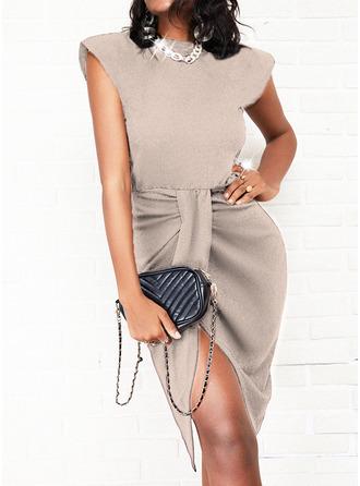 Sólido Bainha Sem mangas Midi Vestido Preto Elegante Vestidos na Moda