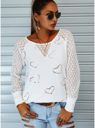Lace Print Heart Round Neck Long Sleeves Casual Blouses