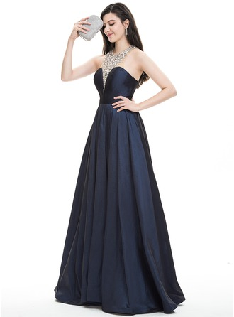 A-Line/Princess Halter Floor-Length Taffeta Prom Dresses With Beading Sequins