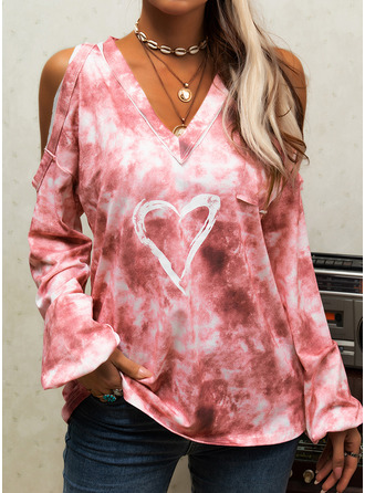 Tie Dye Print Cold Shoulder Long Sleeves Casual Blouses (1003255539)