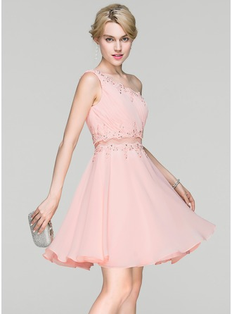 A-Line/Princess One-Shoulder Short/Mini Chiffon Cocktail Dress With Ruffle Lace Beading Sequins