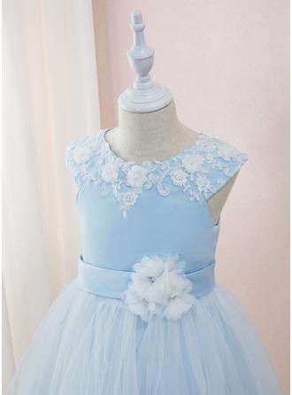 Robe Marquise/Princesse Longueur cheville Robes à Fleurs pour Filles - Satiné/Tulle/Dentelle Sans manches Col rond avec Brodé/Fleur(s)