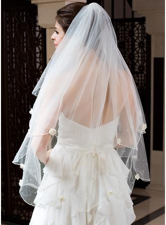 Zweischichtig Fingerspitze Braut Schleier mit Wellenkante