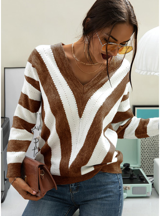 Color Block V-Neck Long Sleeves Casual