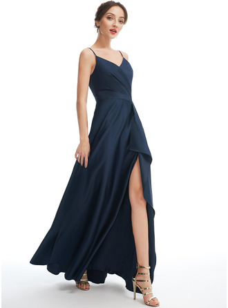 A-Line V-neck Floor-Length Bridesmaid Dress With Split Front Pockets
