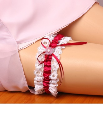 Sexy Satin Lace With Bowknot Pearl Wedding Garters