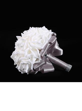 Redondo Seda Ramos de novia/Ramos de la dama de honor (vendido en una sola pieza) -