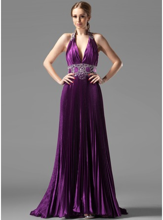 A-Line/Princess Halter Sweep Train Charmeuse Evening Dress With Beading Pleated