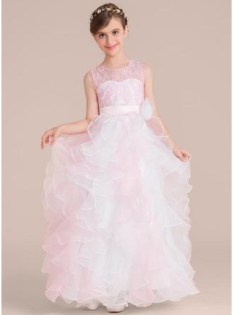 U-Ausschnitt Bodenlang Organza Kleid für junge Brautjungfern mit Blumen