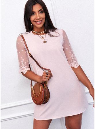 Spitze Einfarbig Etuikleider 1/2 Ärmel Mini Lässige Kleidung Tunika Modekleider