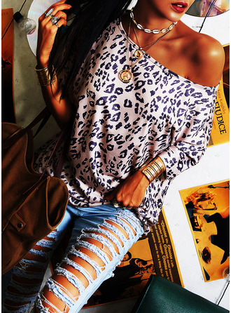 Leopard Round Neck Short Sleeves Casual T-shirt