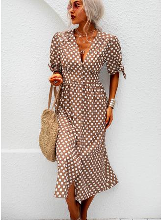 PolkaDot A-linjeklänning Korta ärmar Midi Fritids Semester skater Modeklänningar
