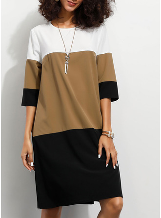 Color Block Shift 1/2 Sleeves Midi Casual Tunic Dresses