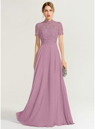 A-Line High Neck Floor-Length Chiffon Evening Dress