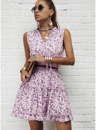 Floral Estampado Vestido linha-A Sem mangas Mini Casual Skatista Vestidos na Moda
