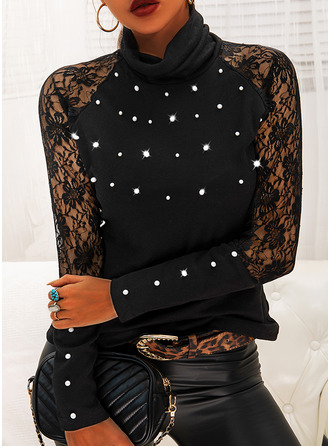 Beaded Lace High Neck Long Sleeves Casual Blouses