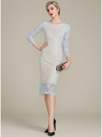Sheath/Column Scoop Neck Tea-Length Lace Mother of the Bride Dress