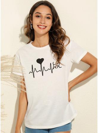 Print Kortermer Polyester round Neck T skjorte Bluser