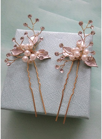 Aleación/La perla de faux con La perla de faux/Bordado Horquillas (Juego de 5)