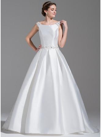De baile Off-the-ombro Cauda de sereia Cetim Vestido de noiva com Bordado lantejoulas Curvado