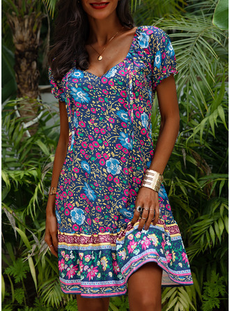 Floral Print A-line Short Sleeves Midi Boho Casual Vacation Skater Dresses