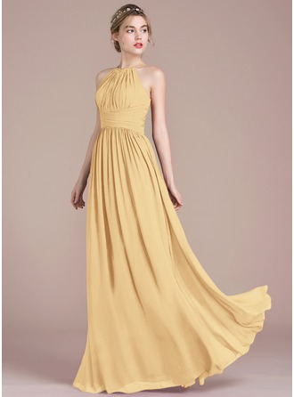 A-Line Scoop Neck Floor-Length Chiffon Prom Dresses With Ruffle