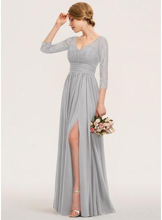 Трапеция V-образный Длина до пола шифон Кружева Платье Подружки Невесты с Рябь Разрез спереди