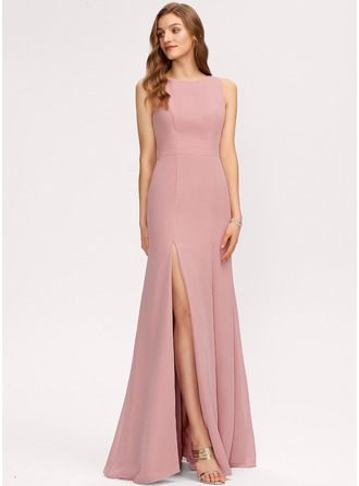 Scoop Neck Blush Chiffon Dresses