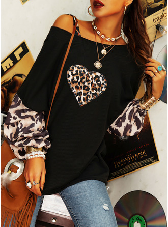 Leopard Print One Shoulder Lantern Sleeve Long Sleeves Casual Blouses