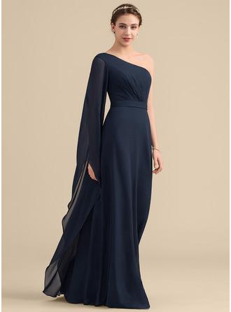 Forme Princesse Seule-épaule Longueur ras du sol Mousseline Robe de demoiselle d'honneur avec Plissé