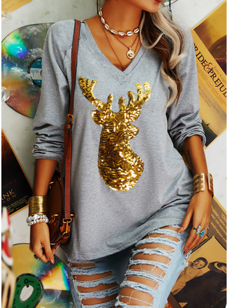 Animal Print Sequins V-Neck Long Sleeves Christmas T-shirt