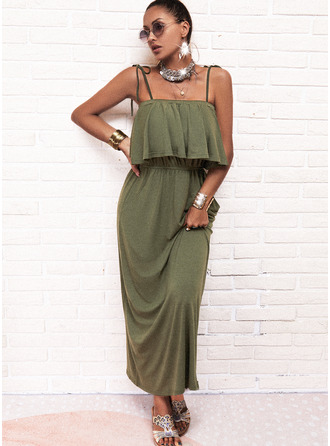 Solid A-line Sleeveless Maxi Casual Skater Type Dresses
