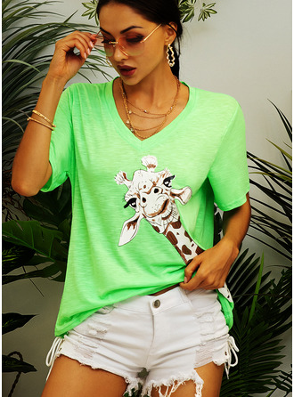 Animal Print Short Sleeves Polyester V Neck T-shirt Blouses