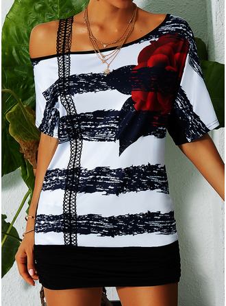 Floral Print Striped One Shoulder Short Sleeves Casual