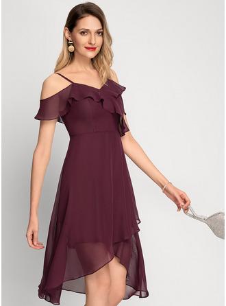 Corte A Off-the-ombro Assimétrico Tecido de seda Vestido de cocktail
