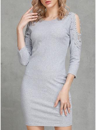 Solid Åtsittande 3/4 ärmar Mini Party Fritids Elegant Sexig Tröjor Modeklänningar