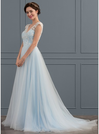 Ball-Gown V-neck Sweep Train Tulle Wedding Dress With Beading Appliques Lace Sequins