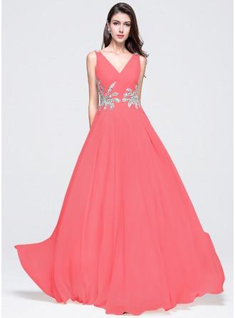 A-Line/Princess V-neck Floor-Length Chiffon Prom Dresses With Ruffle Beading Sequins