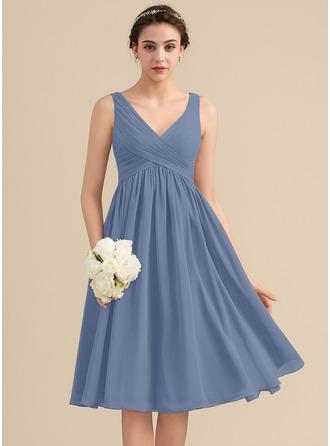 Empire V-neck Knee-Length Chiffon Bridesmaid Dress With Cascading Ruffles