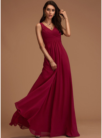 V-neck Dusty Rose Floor-Length Chiffon Dresses